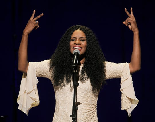 Nicole C. Mullen performs at the inaugural worship service at Grand Ole Opry House in Nashville on Saturday, Jan. 19, 2019.