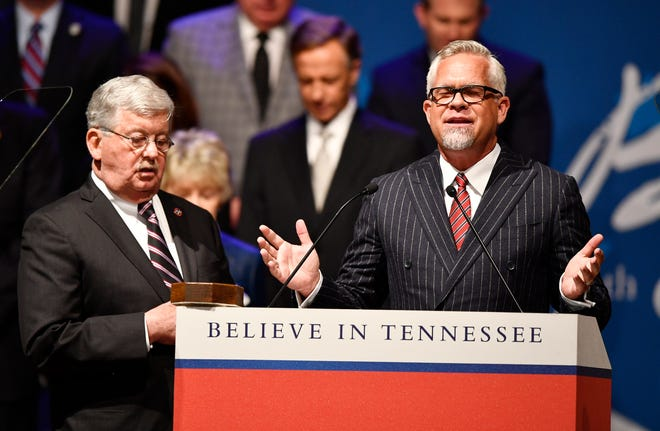 Grace Chapel Pastor Steve Berger delivers the invocation during the inauguration of Bill Lee as the 50th governor of Tennessee at War Memorial Auditorium in Nashville, Tenn., Saturday, Jan. 19, 2019.