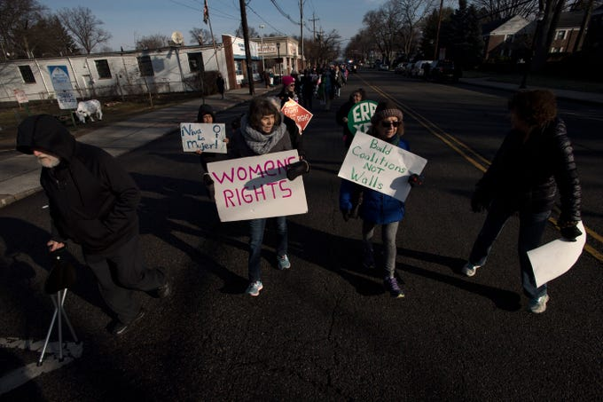 Marchers on Broad Avenue in Leonia during the Leonia Women's March on Saturday, January 19, 2019.