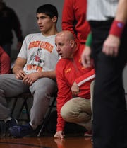 Bergen Catholic wrestling at DePaul in Wayne on Friday, January 18, 2019. (left) A.J. Ferrari and Bergen Catholic wrestling coach David Bell.