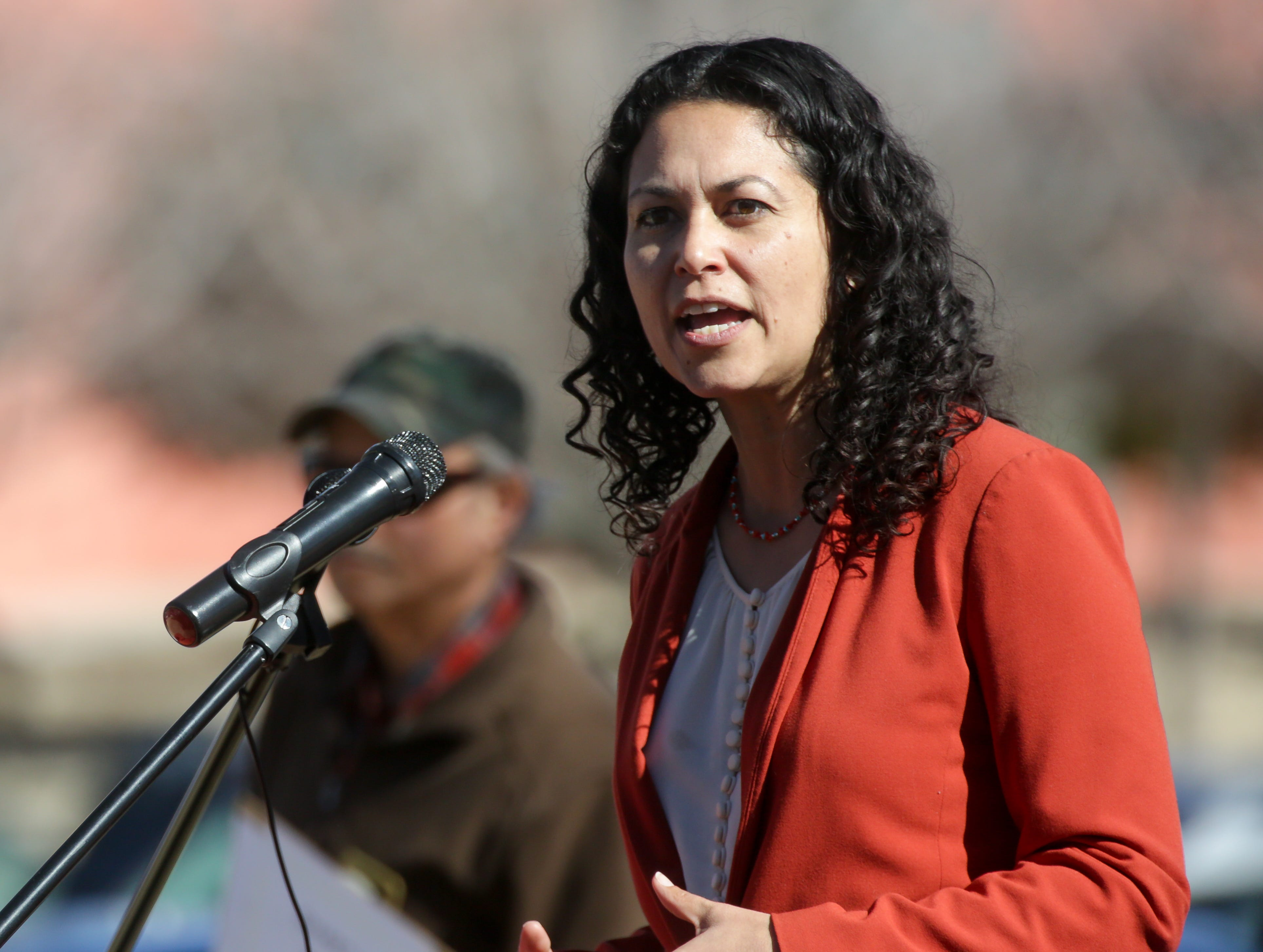 U.S. House Rep. Xochitl Torres Small speaks on Saturday, January 19, 2019 at Albert Johnson Park during the 2019 Las Cruces Woman's Rally.