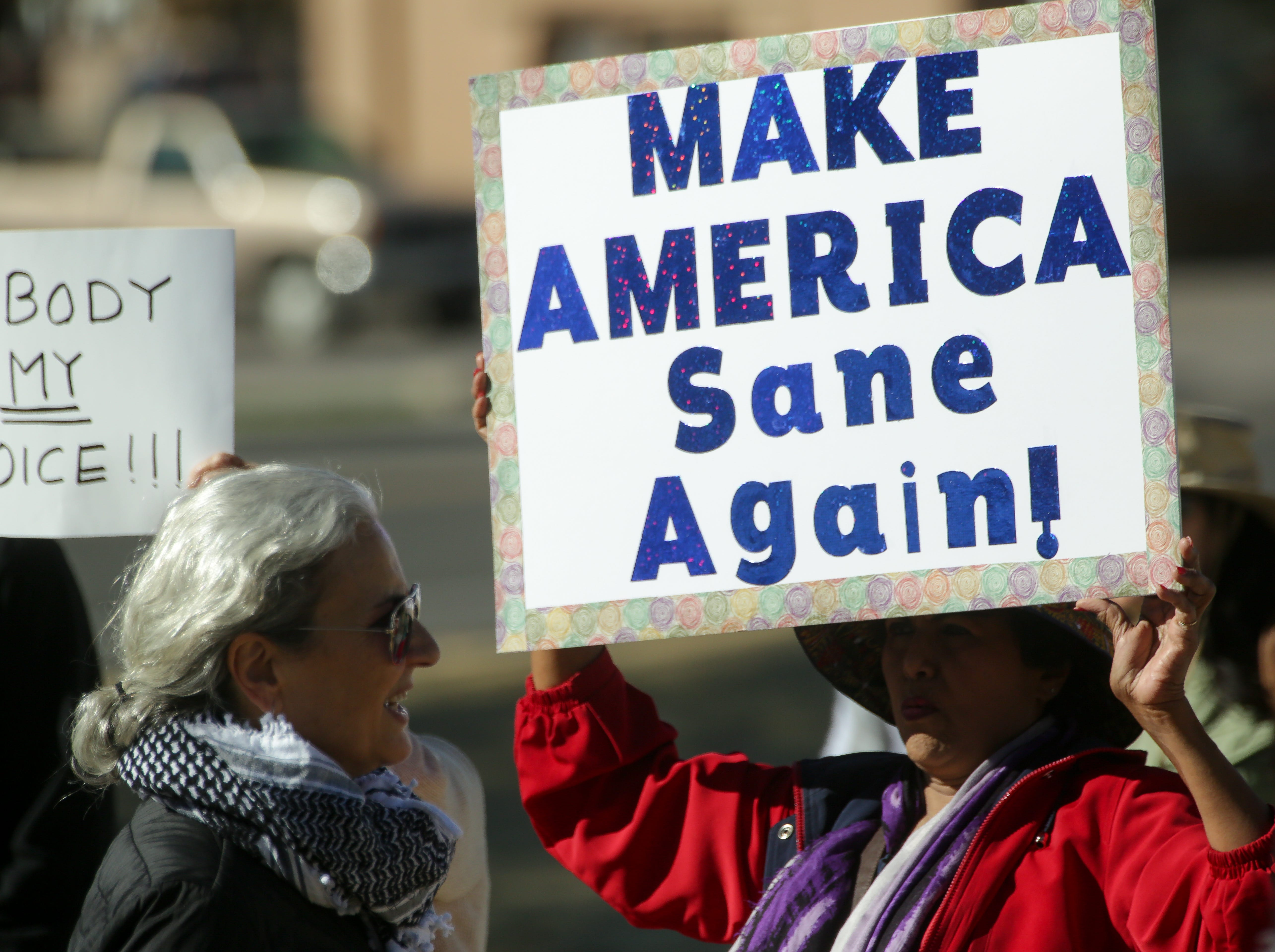 Ammu Devasthali holds her sign during the 2019 Las Cruces Women's Rally on Saturday, January 19, 2019 at Albert Johnson Park.