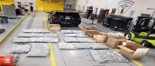 State authorities say they seized nearly 1,000 pounds of marijuana and drug paraphernalia in two days at a western New Mexico stop.