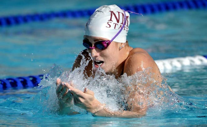 New Mexico State swimmer Hanna McGowan won the 100 breast (1:04.45)  in a dual meet against New Mexico on Saturday, Jan. 19, 2019, at the NMSU Swimming and Diving Complex.