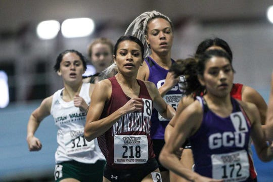 Leah Salazar was among four NM State runners who finished in the top 11 at the mile run at the Dr. Martin Luther King Jr. Collegiate Invitational from the Albuquerque Convention Center on Saturday, Jan. 19, 2019.
