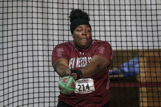 Yemisi Oroyinyin recorded a distance of 17.25 meters in the weight throw Friday, Jan. 18, 2019, at the Dr. Martin Luther King Jr. Invitational in Albuquerque.