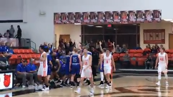 Carlsbad's Josh Sillas hits a 30-plus foot buzzer-beater to end the third quarter of the Jan. 18, 2019 game against Artesia.