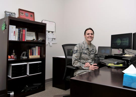 Tech. Sgt. Rochelle Schwarz, 49th Wing special victims paralegal, poses for a picture Jan. 11, 2019, in the Special Victims' Counsel Office on Holloman Air Force Base, N.M. The SVC offers confidential legal advice to victims of an offense under the Uniform Code of Military Justice.