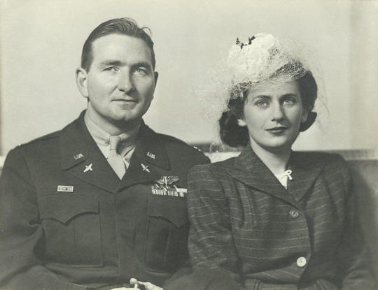 Retired Air Force Col. John Watters and his wife, Jean, pose for a wedding photo after World War II. Watters passed away in 2018 and his family donated his military literature collection to Offutt Air Force Base, Neb.