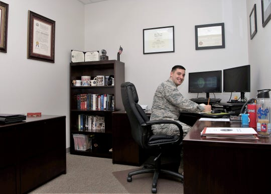 Capt. Matthew Pellegrine, 49th Wing special victims' counsel, poses for a picture Jan. 11, 2019, in the Special Victims' Counsel Office on Holloman Air Force Base, N.M. The SVC offers confidential legal advice to victims of an offense under the Uniform Code of Military Justice.