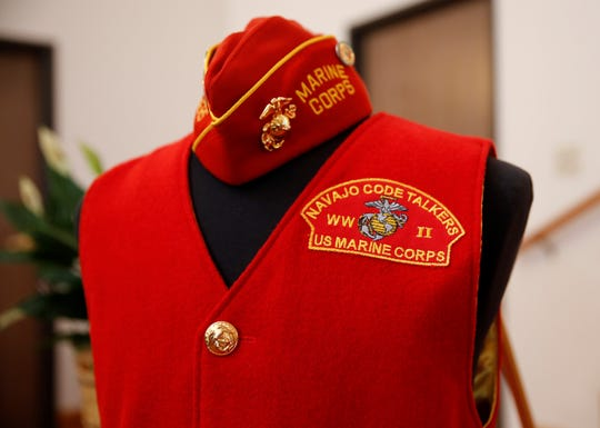 A Navajo Code Talkers vest and hat were displayed during the funeral service for Navajo Code Talker Alfred K. Newman Sr. on Saturday at the Maranatha Fellowship Christian Reformed Church in Farmington.