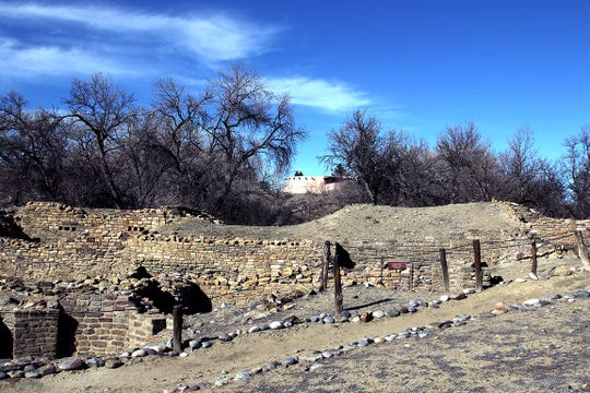 The Salmon Ruins Museum sits on a hill above the ruins of the Salmon Pueblo.
