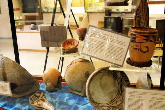 Pottery and other artifacts are on display in the Salmon Ruins Museum in Bloomfield.