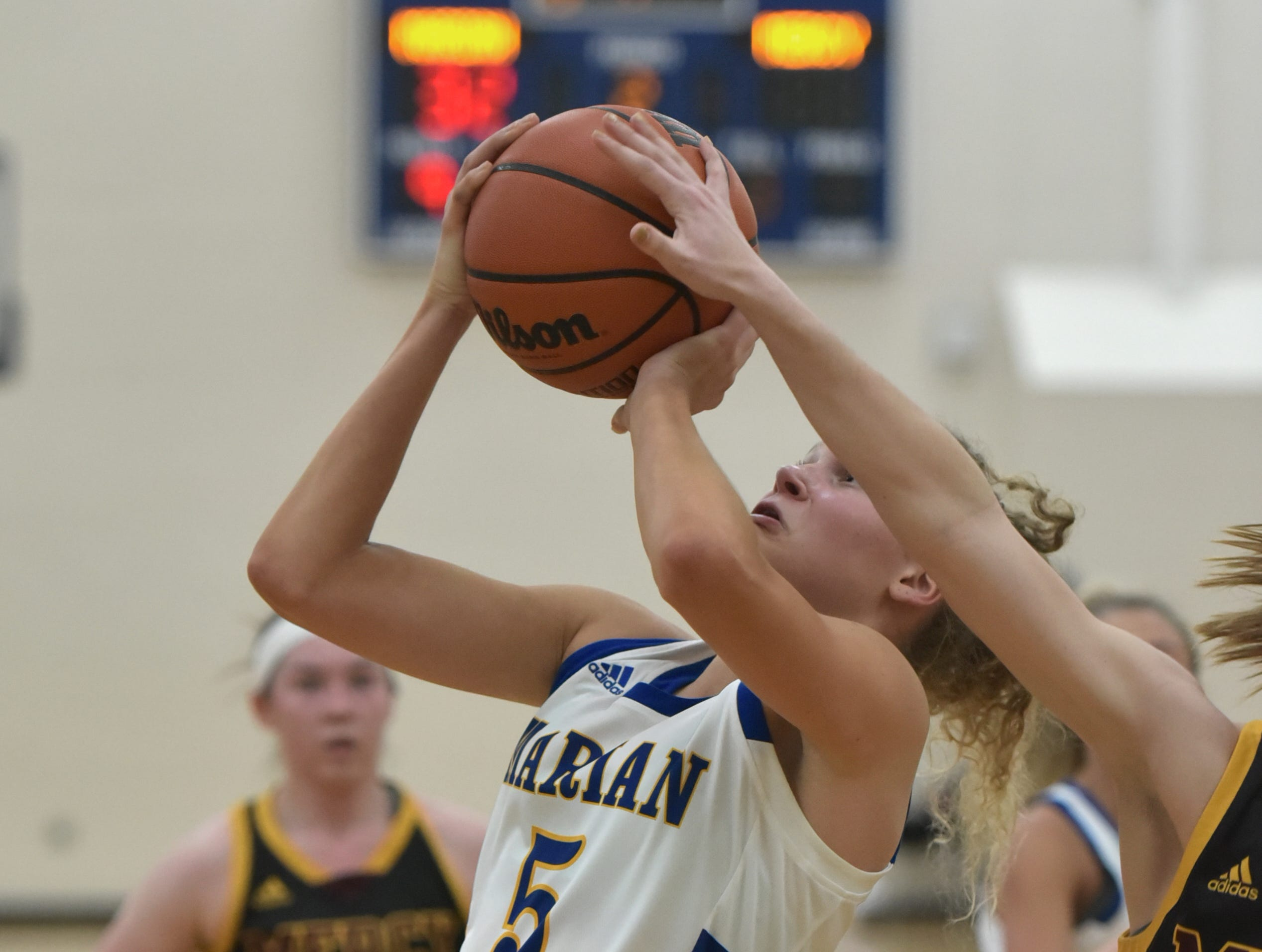 Marian High's Megan Kraus gets a shot blocked from behind by a Mercy High player during the teams' Jan. 19 game in West Bloomfield.