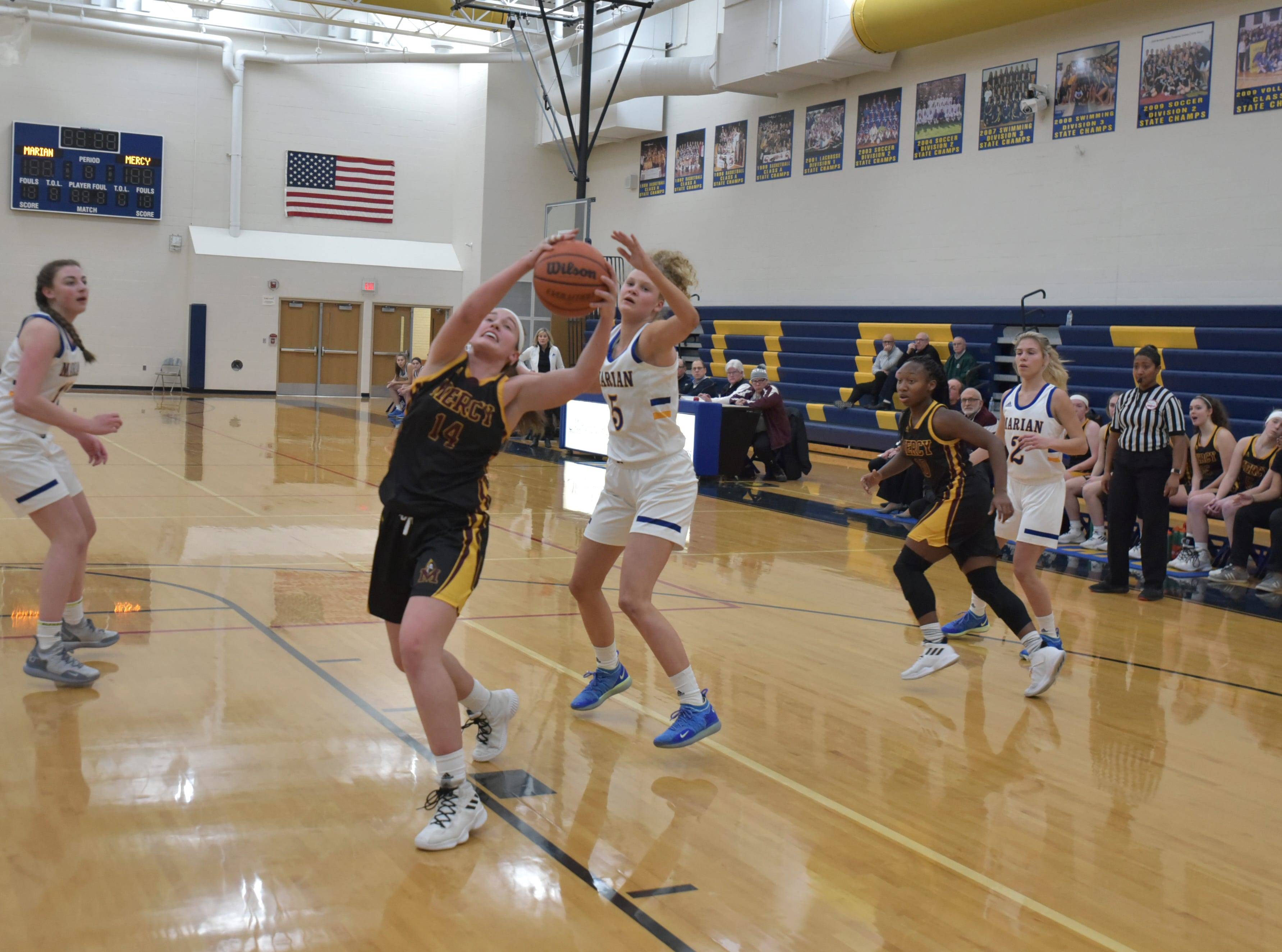 Mercy High visits Marian High in West Bloomfield on Jan. 19.