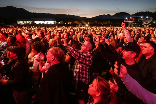 The audience at the Sammy Hagar performance at Desert Classic after the day's PGA golf action at PGA West in La Quinta on Friday, January 18, 2019.