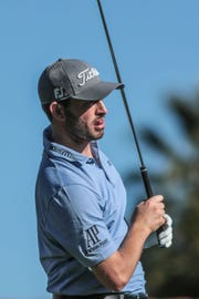 Patrick Cantlay tees off on 7 at La Quinta Country Club during the 3rd round of the Desert Classic on Saturday, January 19, 2019 in La Quinta.