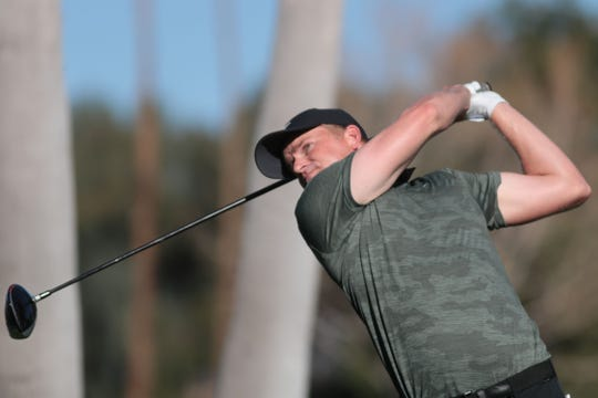 Adam Long tees off on 17 at La Quinta Country Club during the 3rd round of the Desert Classic on Saturday, January 19, 2019 in La Quinta. Long finished 3rd place for the day with 9 under and 19 under for the tournament.