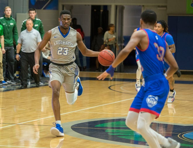 West Florida's Jarrett Henderson makes his way down court as they take on the West Georgia Wolves Saturday, January 19, 2019 at the UWF Field House.