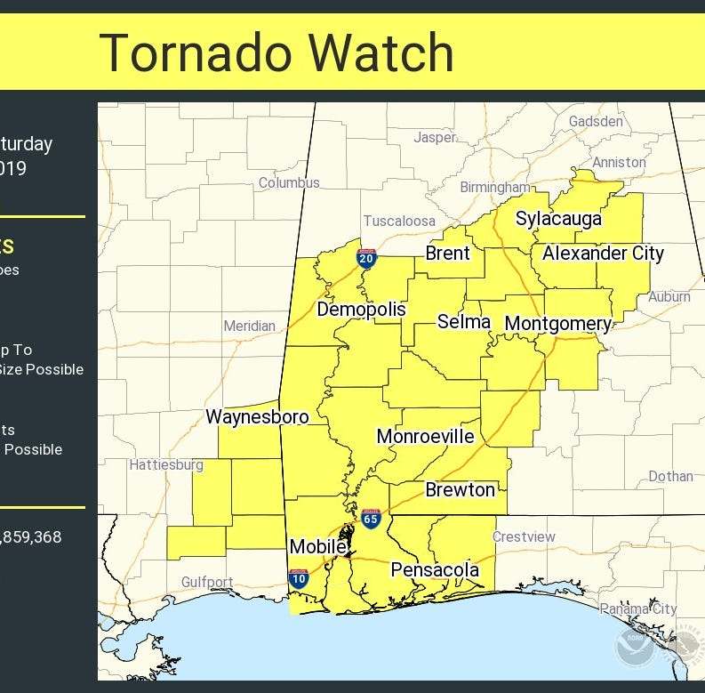 Tornado watch issued for Escambia and Santa Rosa counties