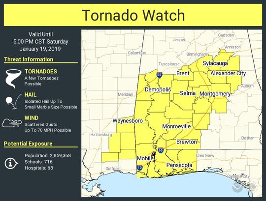 A tornado watch is in effect for portions of Mississippi, Alabama and Florida, including Escambia and Santa Rosa counties.