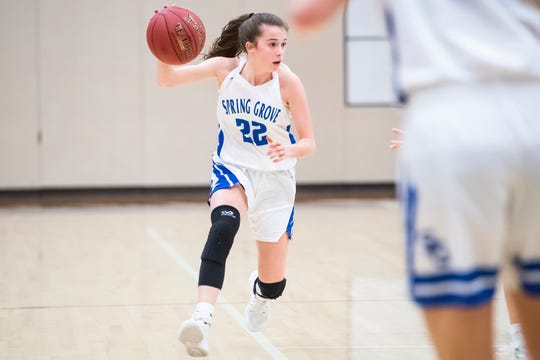 Spring Grove's Ella Kale dribbles down the court during play against Red Lion on Friday, Jan. 18, 2019. Spring Grove won 53-30.