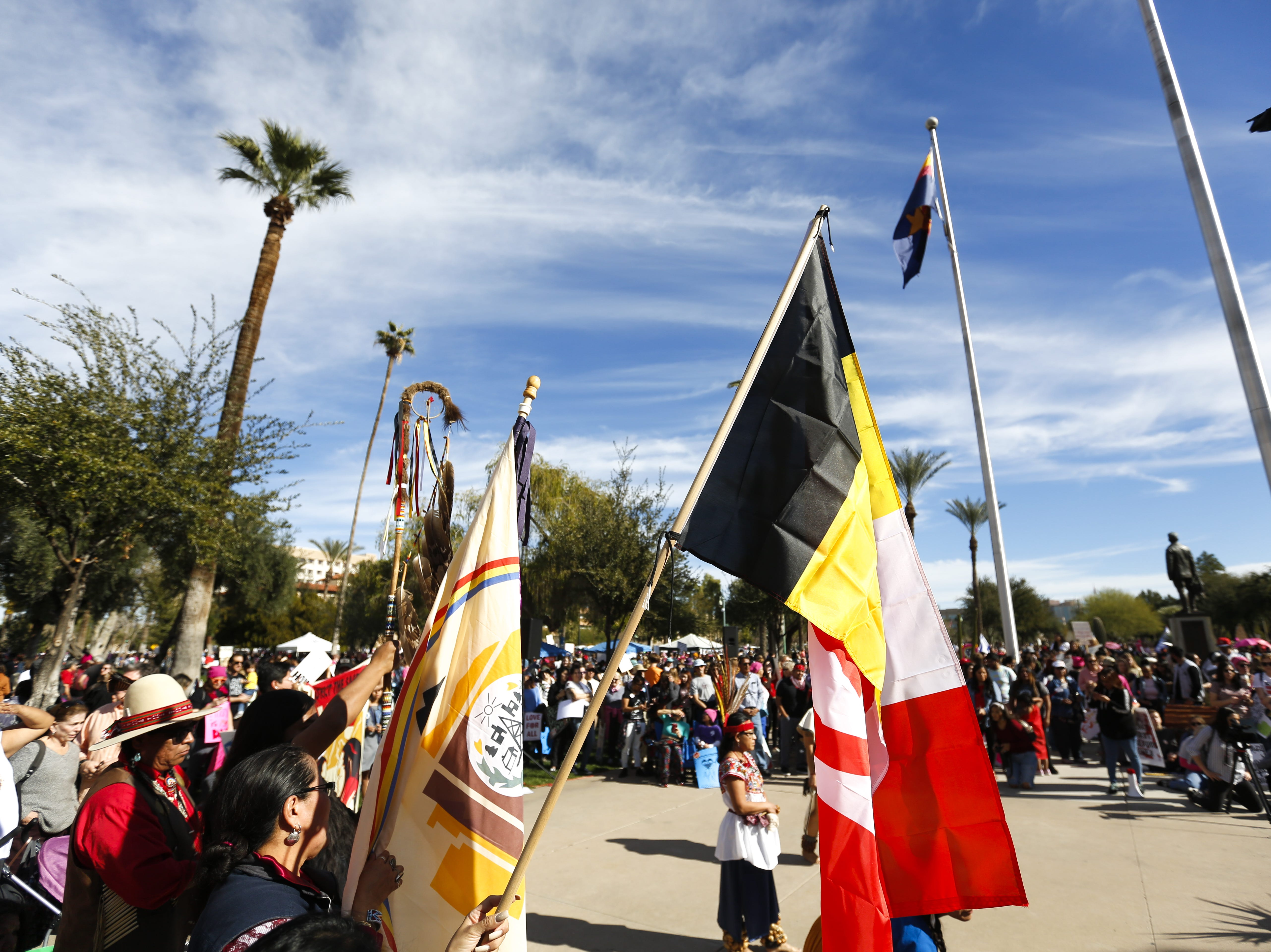 The Huehuecoyotl group performs traditional dances at the Phoenix Women's March on Jan. 19, 2019, at the Arizona Capitol.
