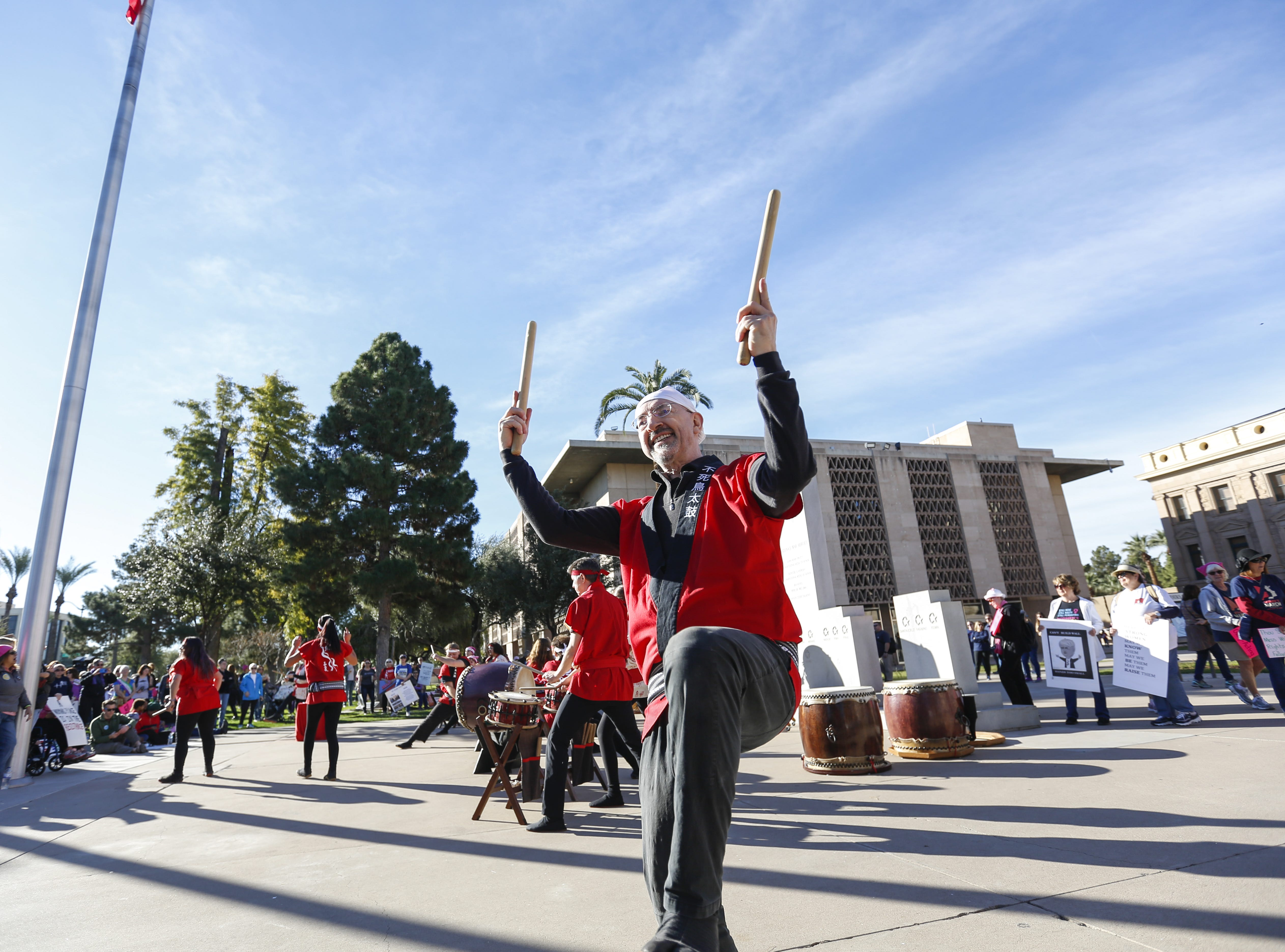 Murray Writtle performs with Fushicho Daiko Dojo members at the Phoenix Women's March on Jan. 19, 2019, at the Arizona Capitol.