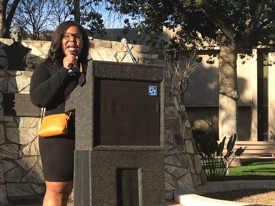 Lindsay Love, the first Black woman elected to the Chandler USD, speaks at the Women's March in Phoenix, Jan. 19, 2019.