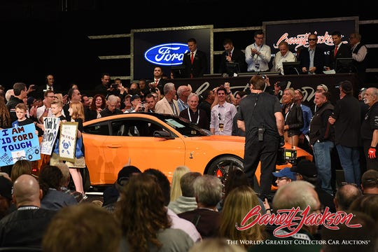 Barrett-Jackson CEO Craig Jackson bid $1.1 million on a 2020 Mustang Shelby GT500, considered the most powerful street-legal Ford car ever produced. The money will benefit the Juvenile Diabetes Research Foundation.