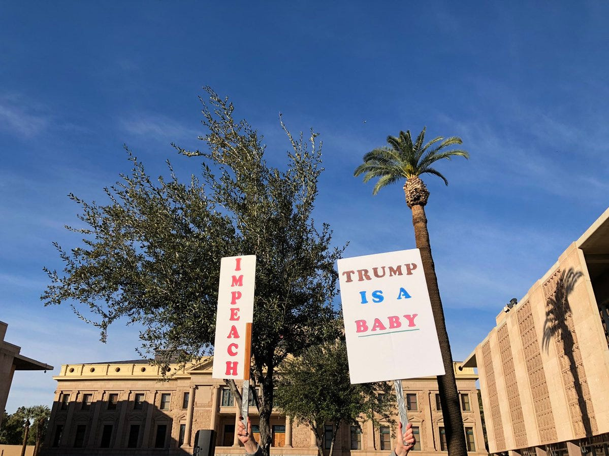 Participants at the 2019 Phoenix Women's March show their signs at the Arizona Capitol.