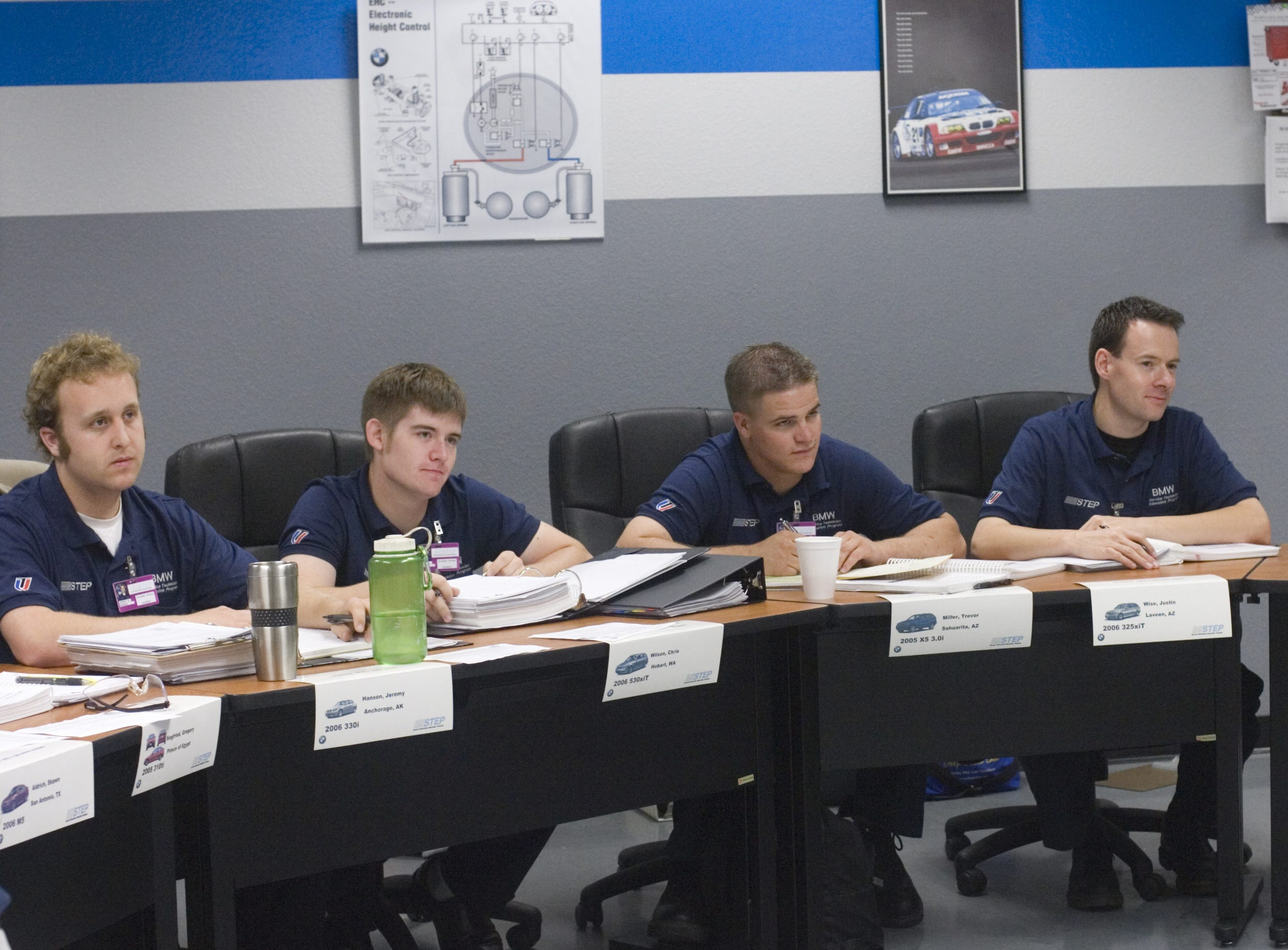 Universal Technical Institute students join in a classroom discussion in advanced, a BMW Service Technician Education Program class in October 2006.