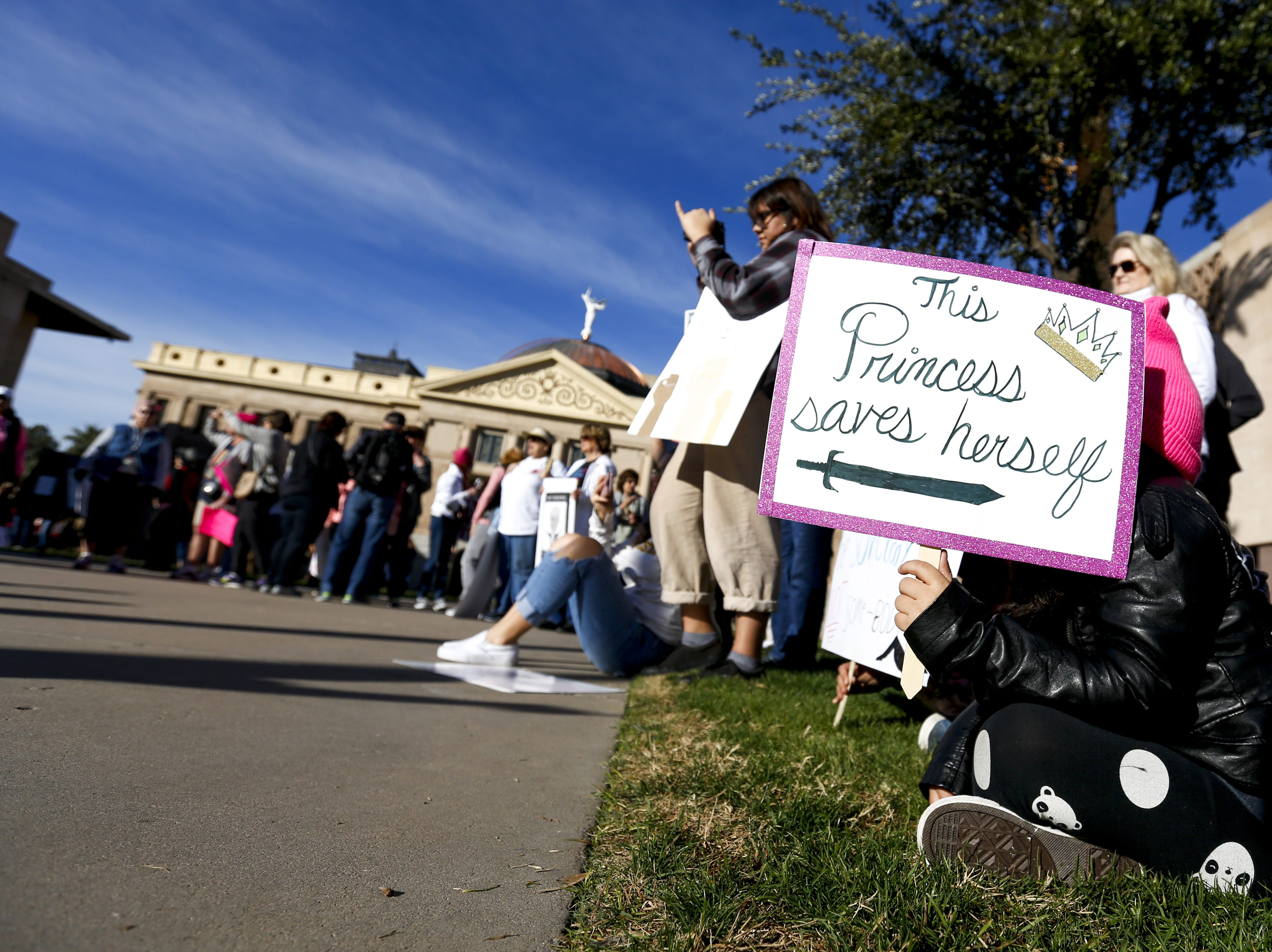 A crowd watches Fushicho Daiko Dojo members perform at the Phoenix Women's March on Jan. 19, 2019, at the Arizona Capitol.