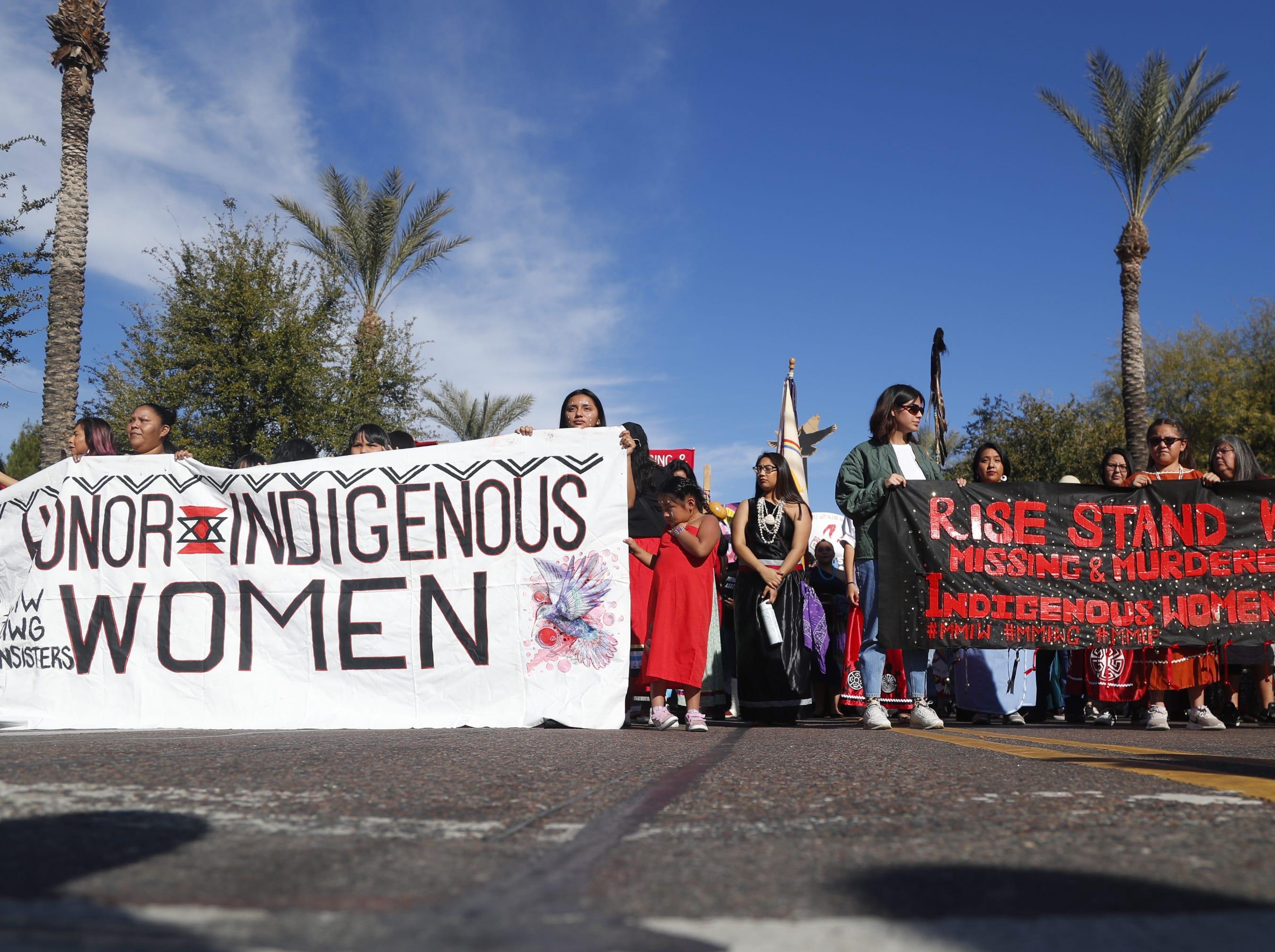Indigenous women lead the Women's March outside the Arizona Capitol in Phoenix, Jan. 19, 2019.