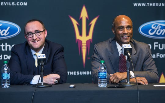 ASU athletic director Ray Anderson sits with hockey head coach Greg Powers to announce the elevation of the program to Division I status in 2014.