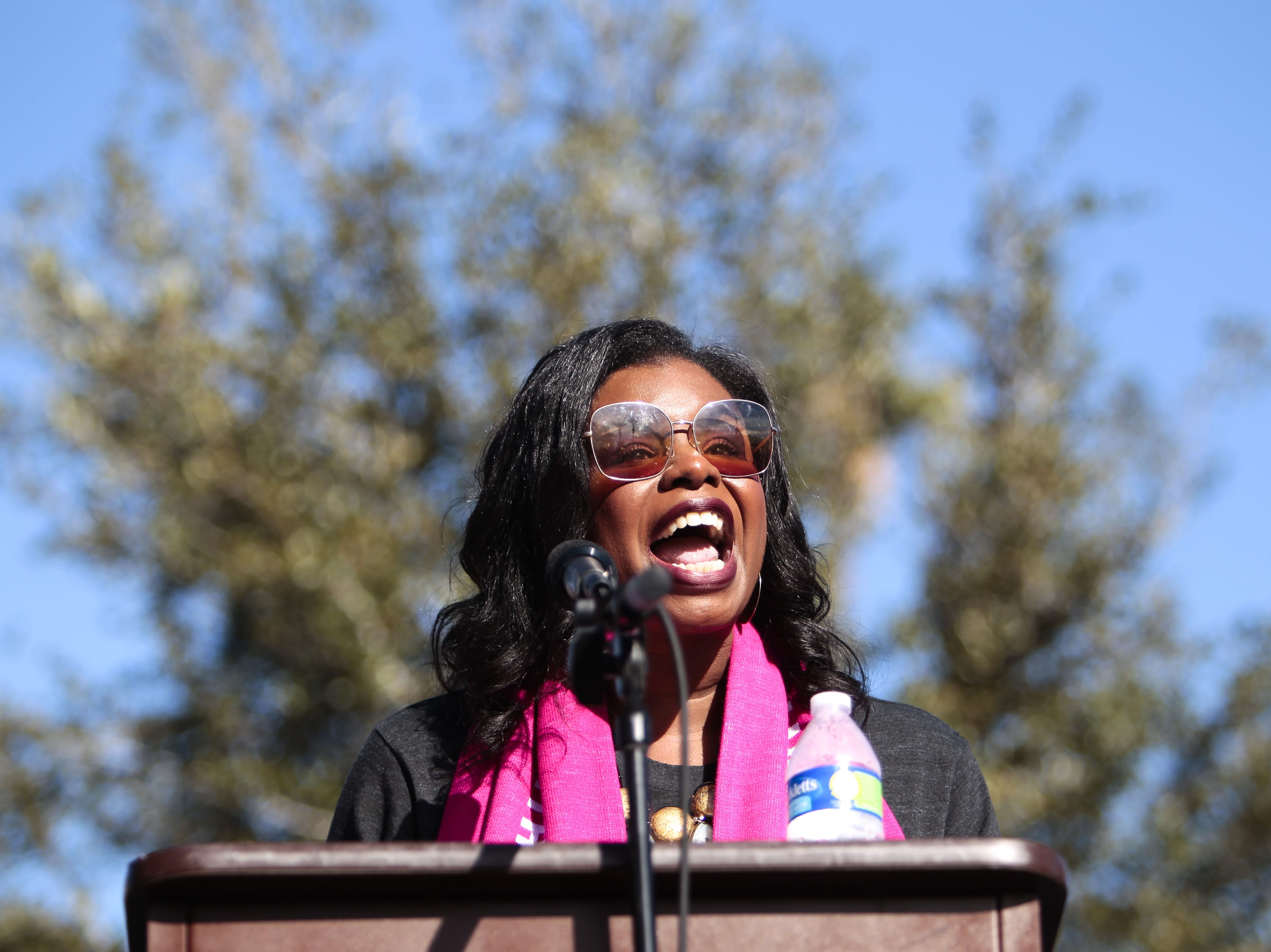 "Planned Parenthood representative Chris Love spoke last at the Phoenix Women's March on Jan. 19, 2019, at the Arizona Capitol. ""I am an unapologetically black woman,"" Love said near the beginning of her speech."