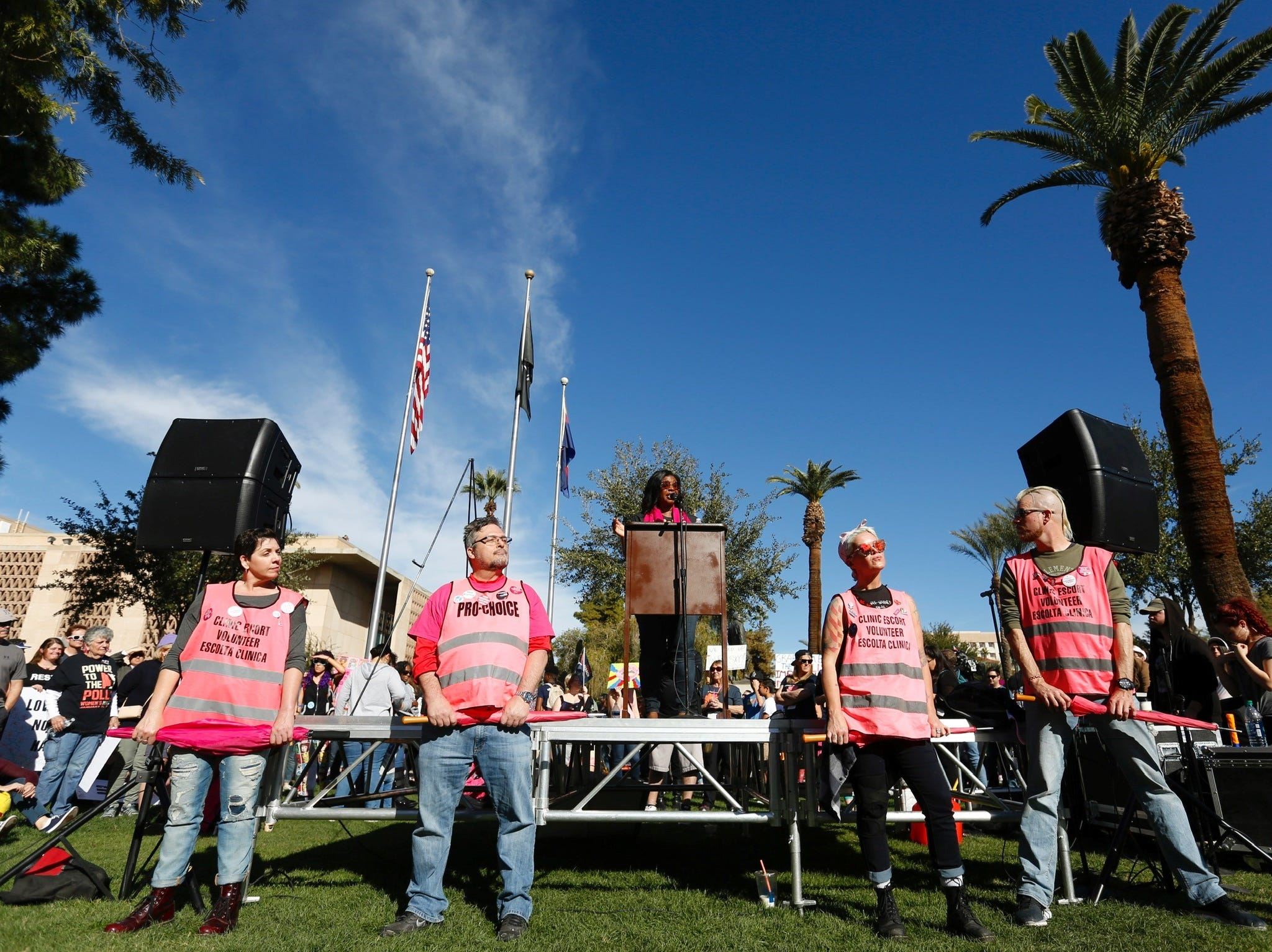 A crowd gathers at the Arizona Capitol in Phoenix for the Women's March, Jan. 19, 2019.