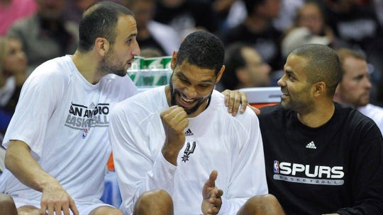 Tony Parker (in black shirt) was part of San Antonio's Big 3 with Tim Duncan and Manu Ginobili during the Spurs' championship years.