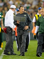 Sep 3, 2015: Green Bay Packers offensive coordinator Tom Clements during the game against the New Orleans Saints at Lambeau Field.  Green Bay won 38-10.