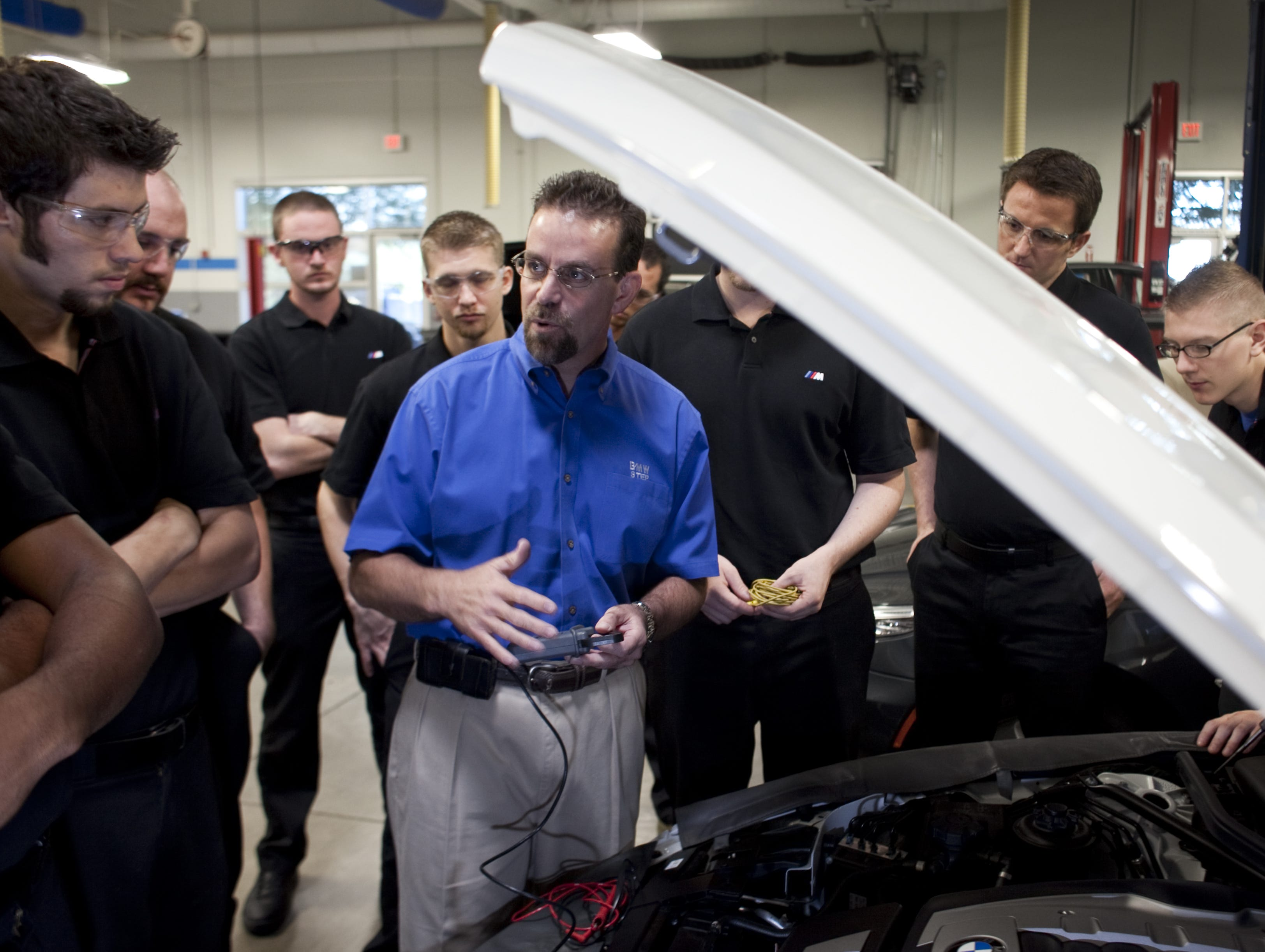 Tom Varrone teaches a BMW class at the Universal Technical Institute, 10695 W. Pierce St. in Avondale.