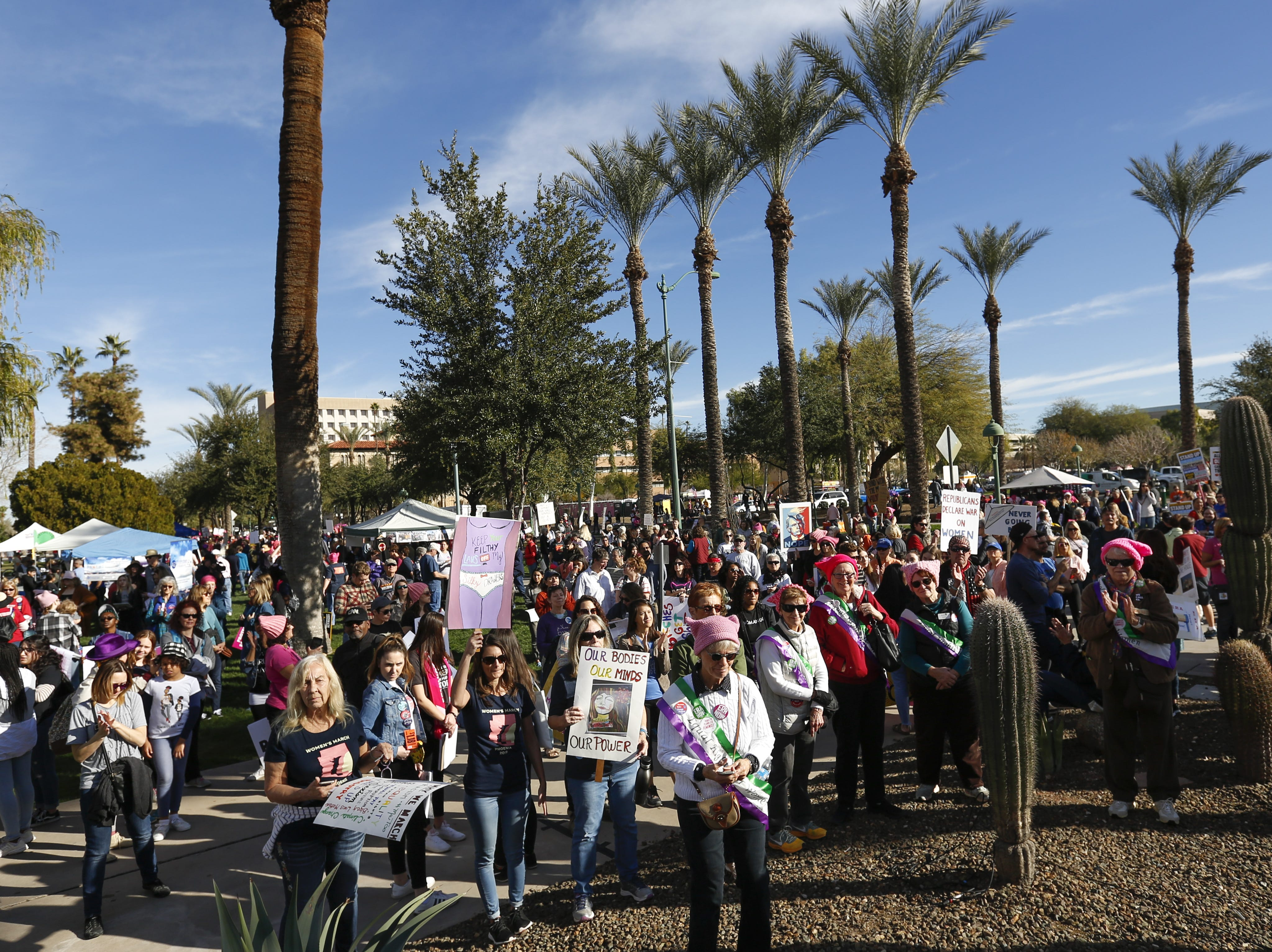 The crowd stretches across the lawn at the Phoenix Women's March on Jan. 19, 2019, at the Arizona Capitol.