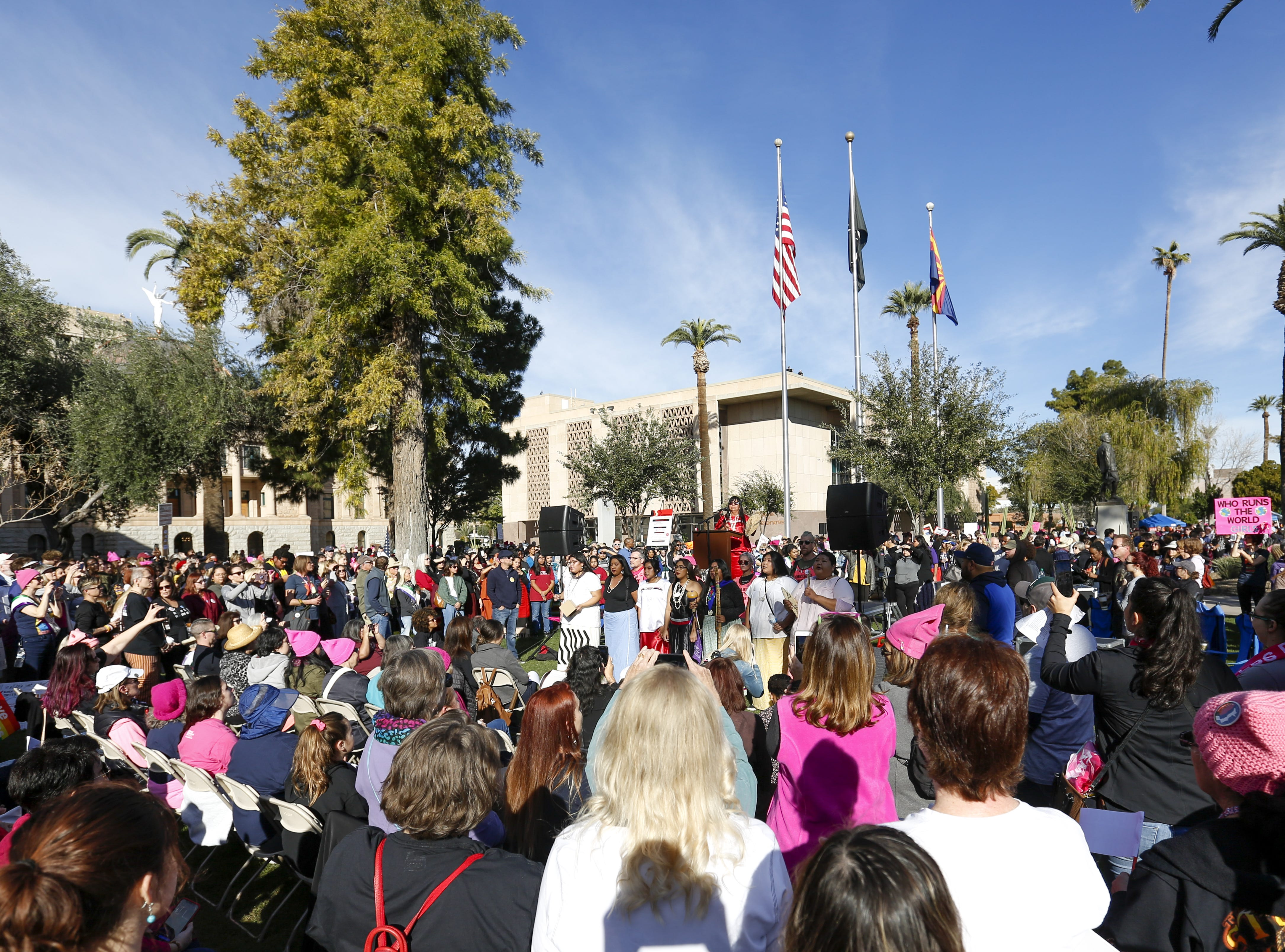 A crowd gathers to listen to speakers at the Phoenix Women's March on Jan. 19, 2019, at the Arizona Capitol.