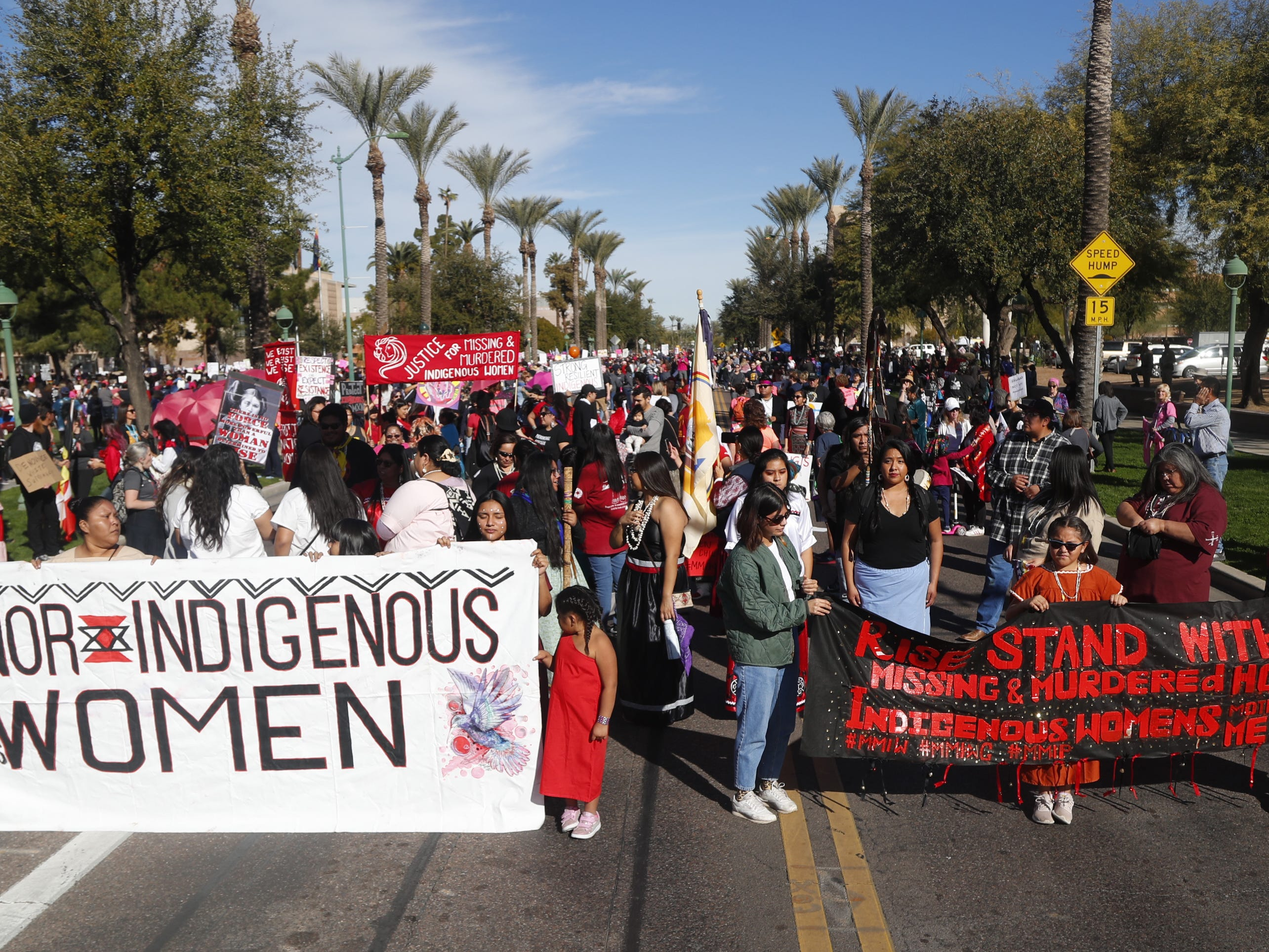 Indigenous women lead off the Women's March outside the Arizona Capitol in Phoenix, Jan. 19, 2019.