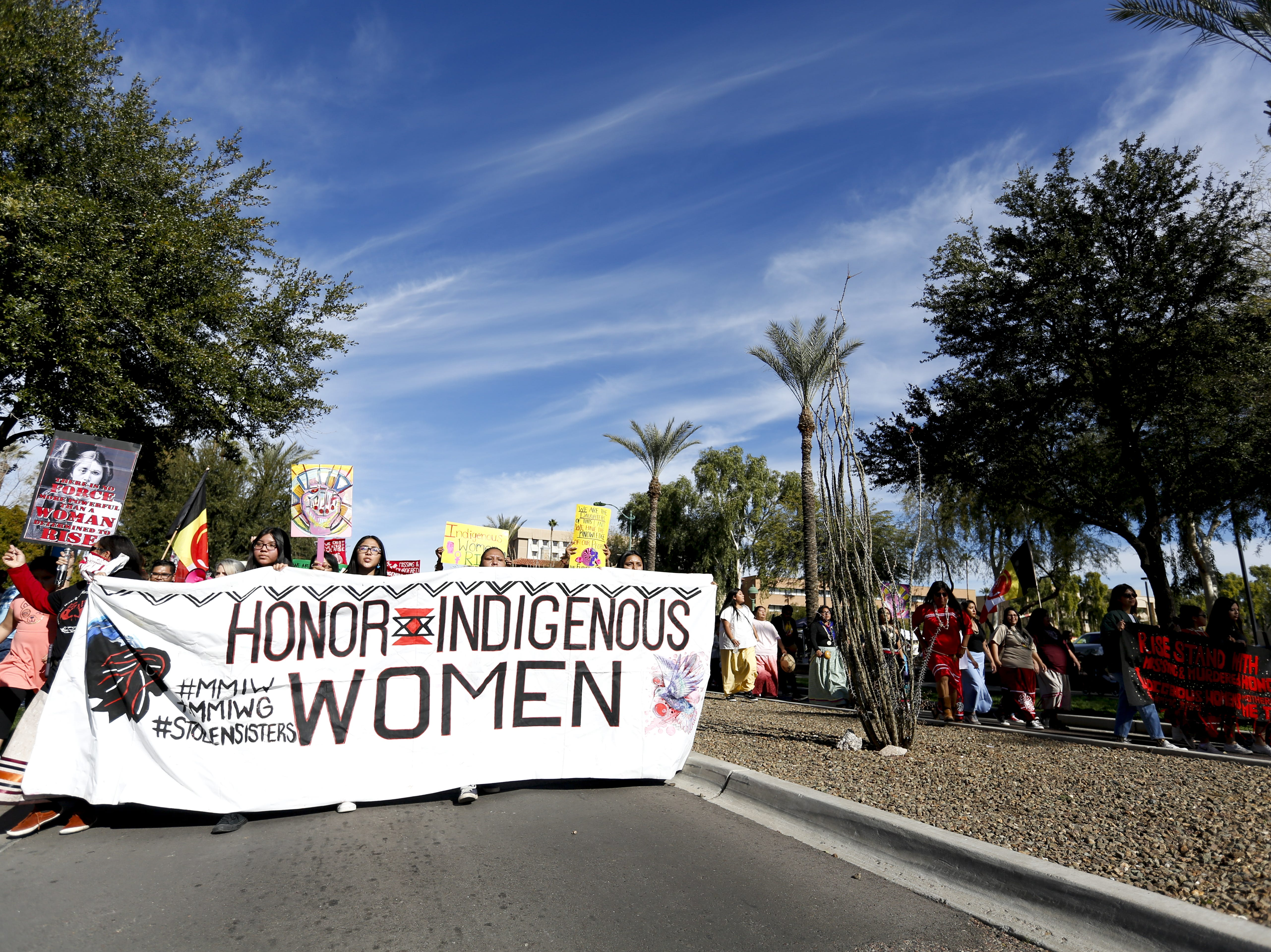 A group that supports indigenous women leads the Phoenix Women's March on Jan. 19, 2019, at the Arizona Capitol.