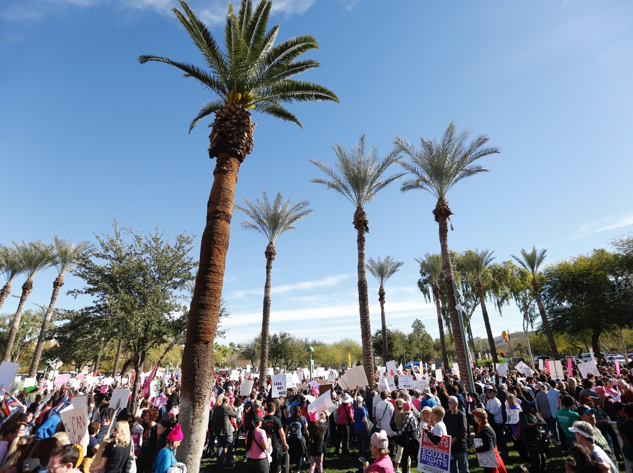 Crowd gathers at the Arizona Capitol in Phoenix for the Women's March, Jan. 29, 2019.