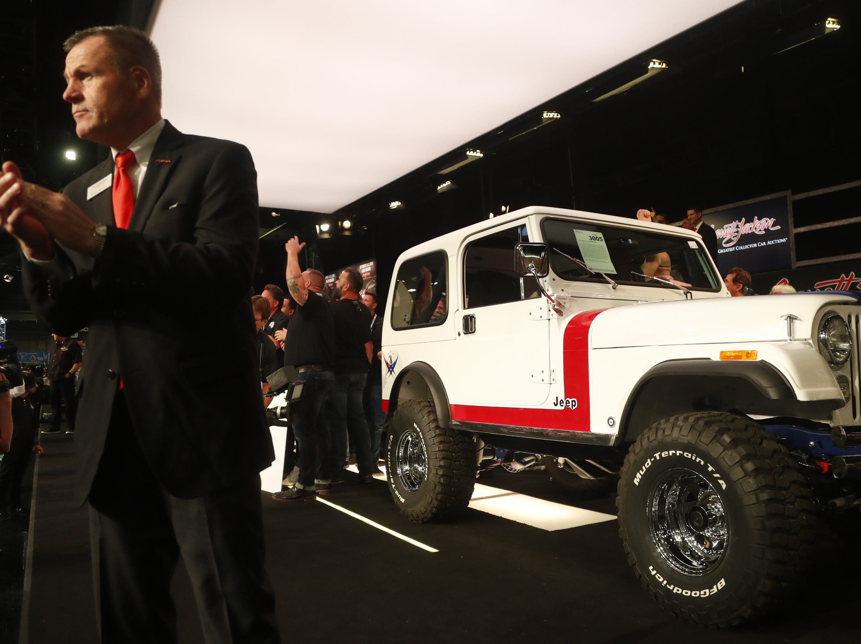 The custom Jeep is auctioned onstage to benefit the Gary Sinise Foundation at the Barrett-Jackson collector-car auction at WestWorld in Scottsdale on Jan. 18, 2019.