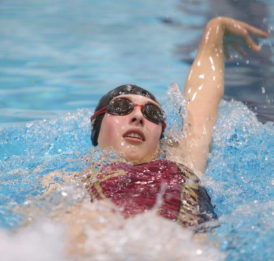 Arlington swimmer Annie Sobolewski during practice at Vassar College on January 18, 2019.