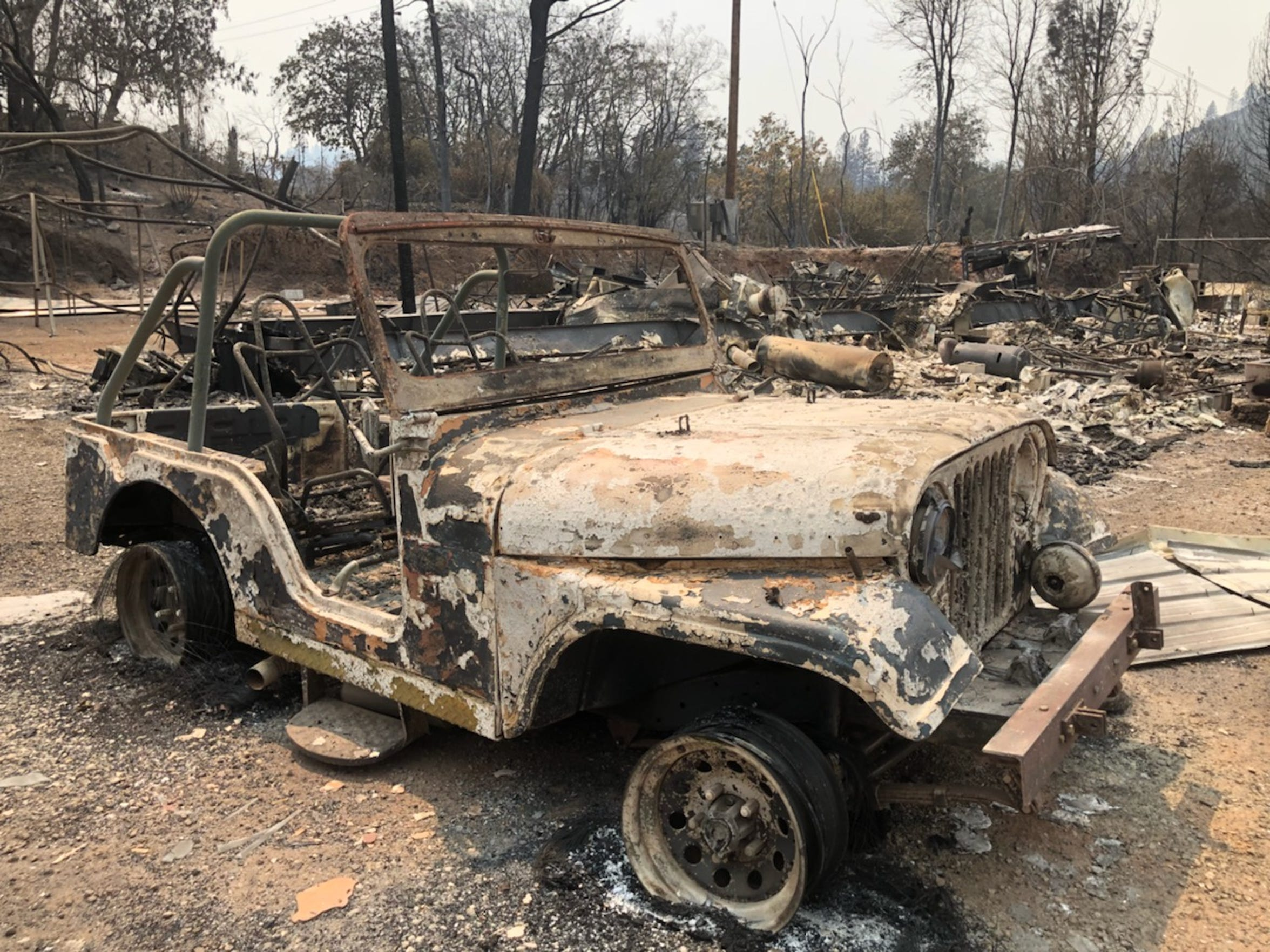 Mary Ann Sharp's pink Jeep after the Carr Fire.