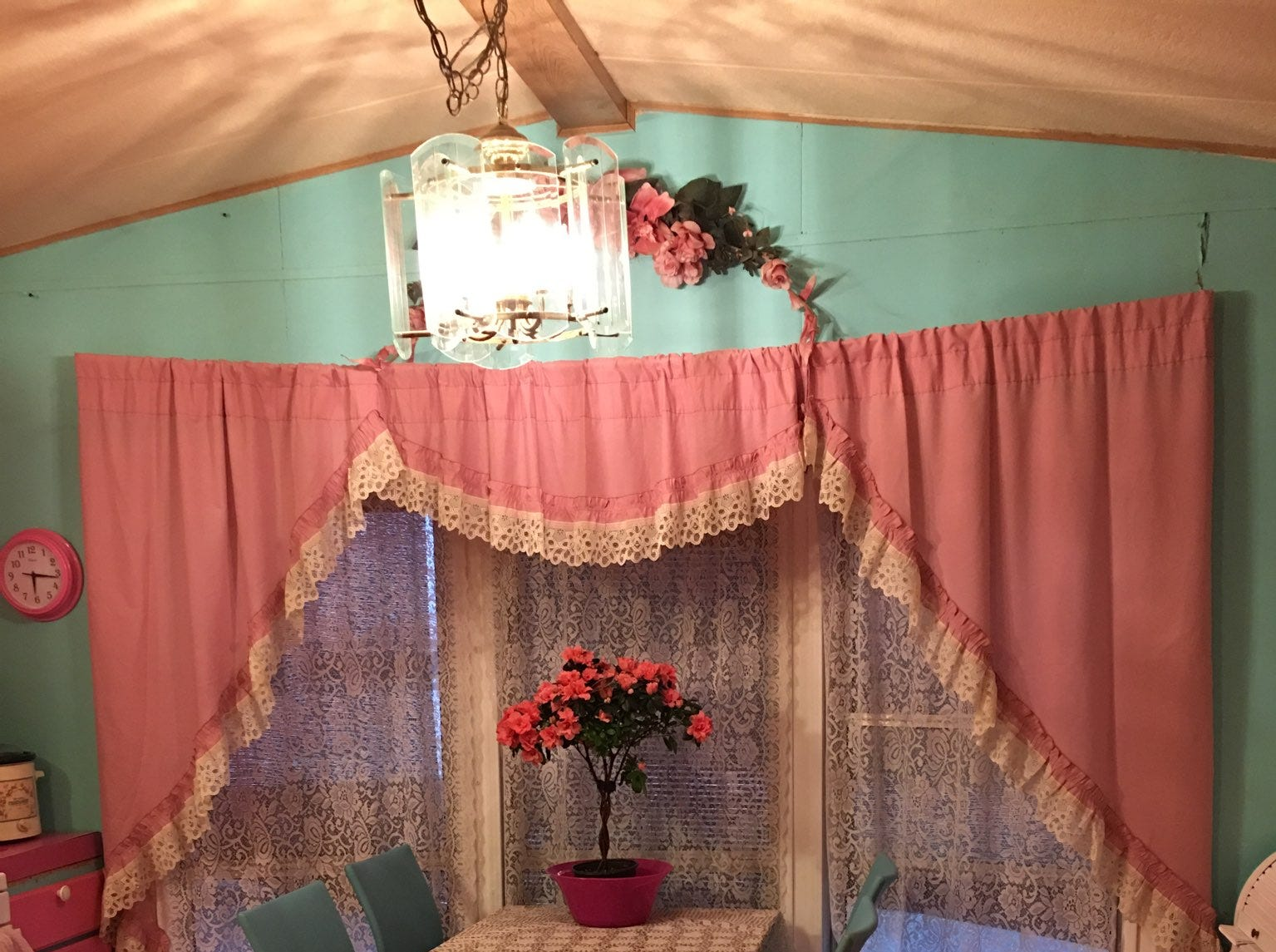The interior of Mary Ann Sharp's Keswick home before the Carr Fire destroyed it. She painted everything in a signature combination of pink and turquoise.