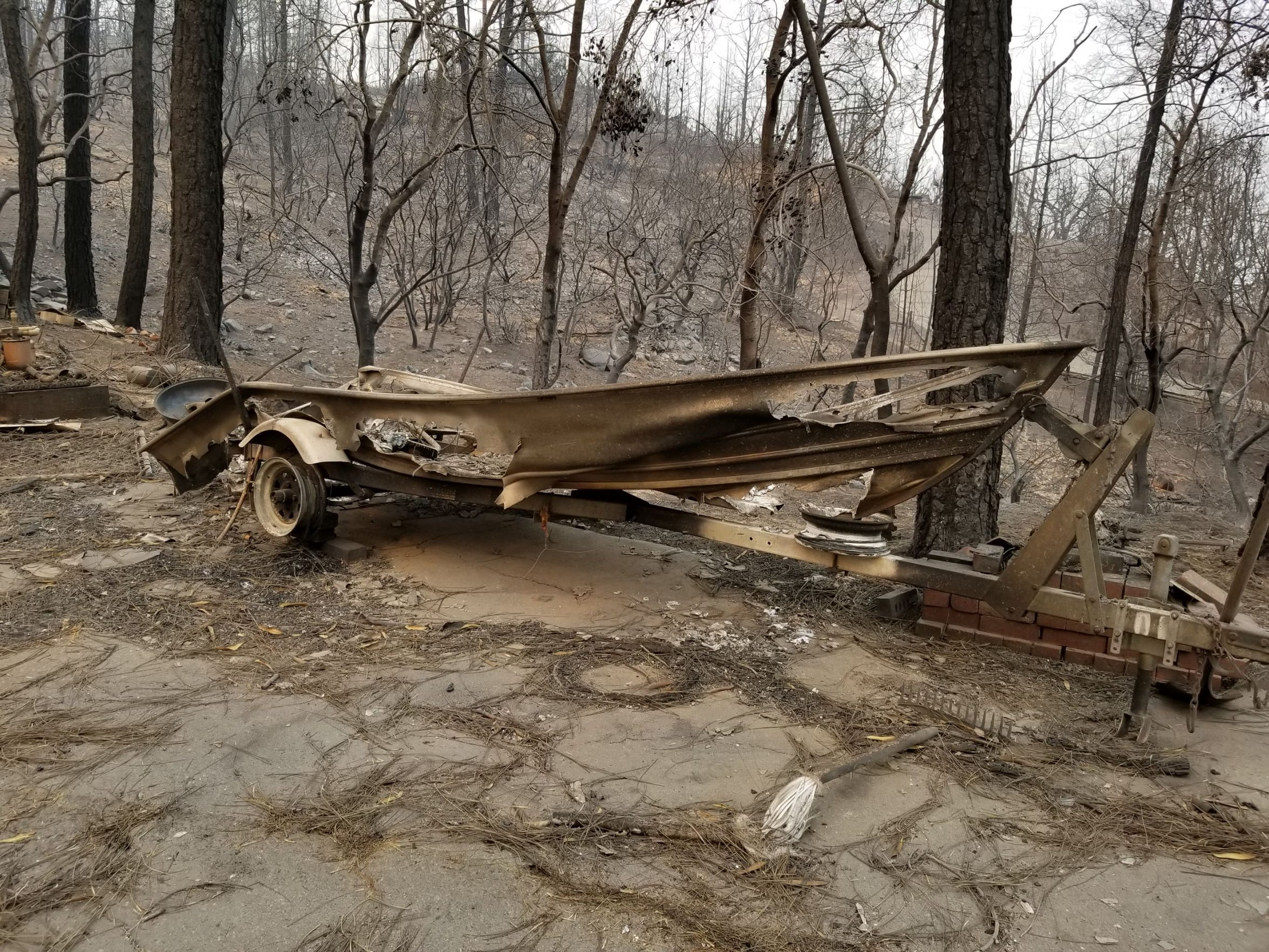 The remains of Lynne and Phil Pearson's boat after the Carr Fire tore through their Shasta neighborhood in July.